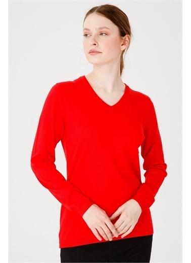 Desen Triko Kadın Lıkralı Uzun Kol Basıc V Yaka Bluz Saks Mavı Mercan